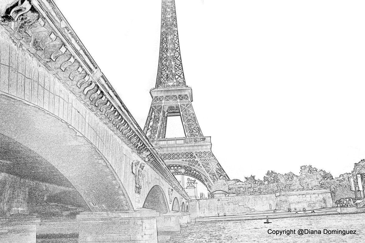 Графика рисунки черно белые париж