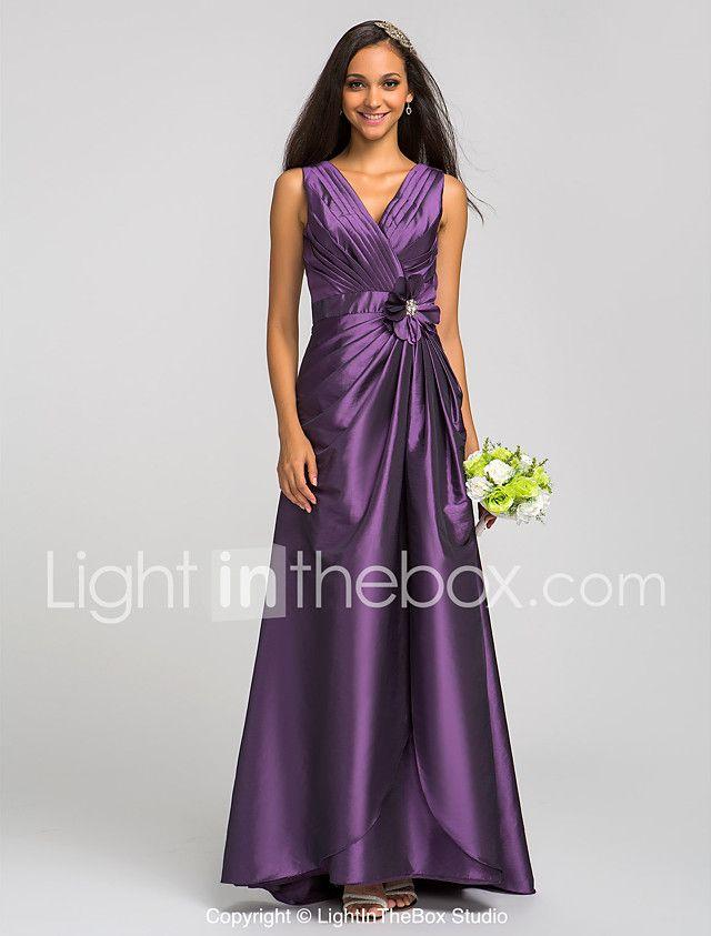 Vaina / columna v-cuello longitud piso tafetán vestido de dama de ...