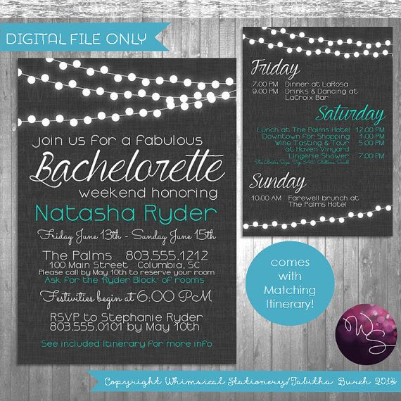 Bachelorette Party Weekend Invitation \ Itinerary  - birthday itinerary template