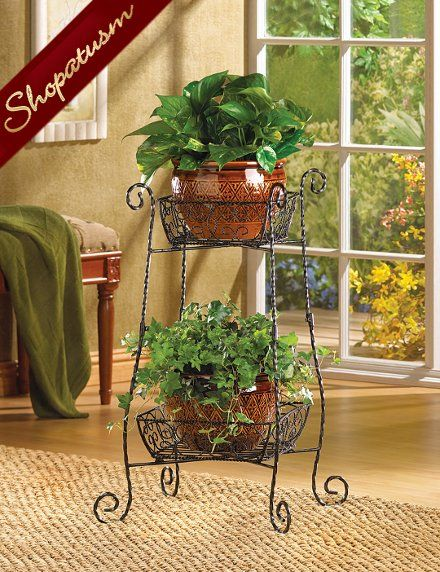 Wire Basket Two Tier Plant Stand Wrought Iron Curlicues Plants
