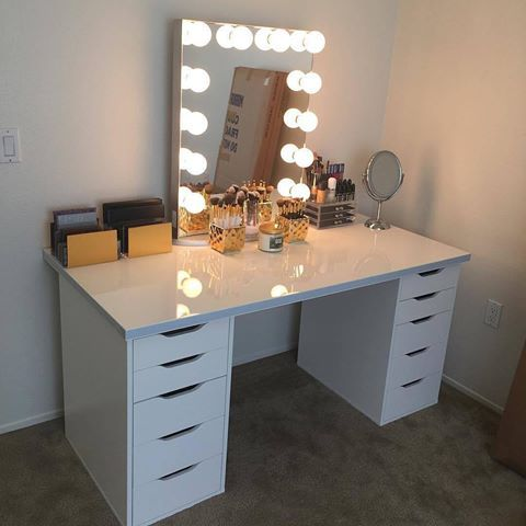 Loving This Classic Setup Those Gold Accents Are Everything Pairs The With Ikea S Linnmon Table Top And Alex Drawers
