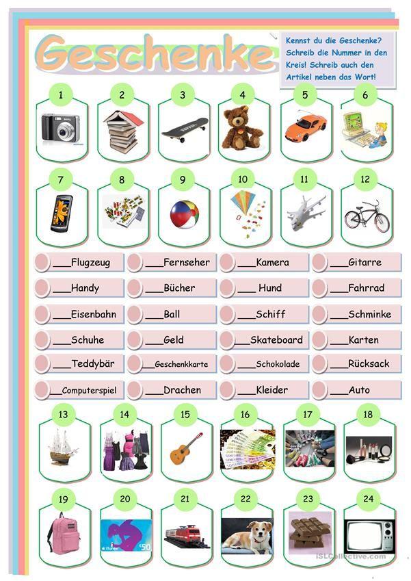 Geschenke | Deutschunterricht | Pinterest | Geschenk, Schule und ...