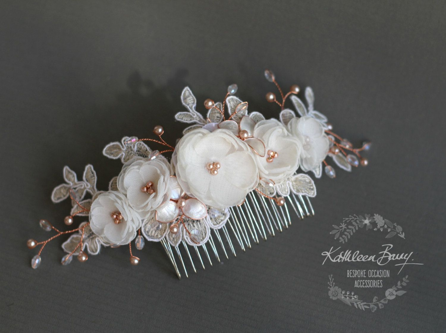 Floral lace rose gold bridal hair veil comb luxury handmade flowers