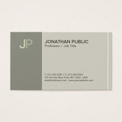 Modern Monogram Creative Plain Chic Elegant Green Business Card   Architect  Gifts Architects Business Diy Unique Create Your Own