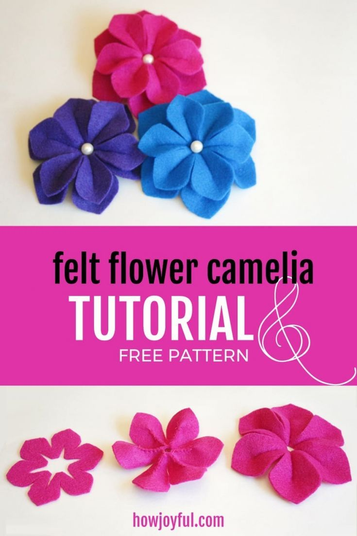 Felt Camelia tutorial and pattern #feltflowertemplate