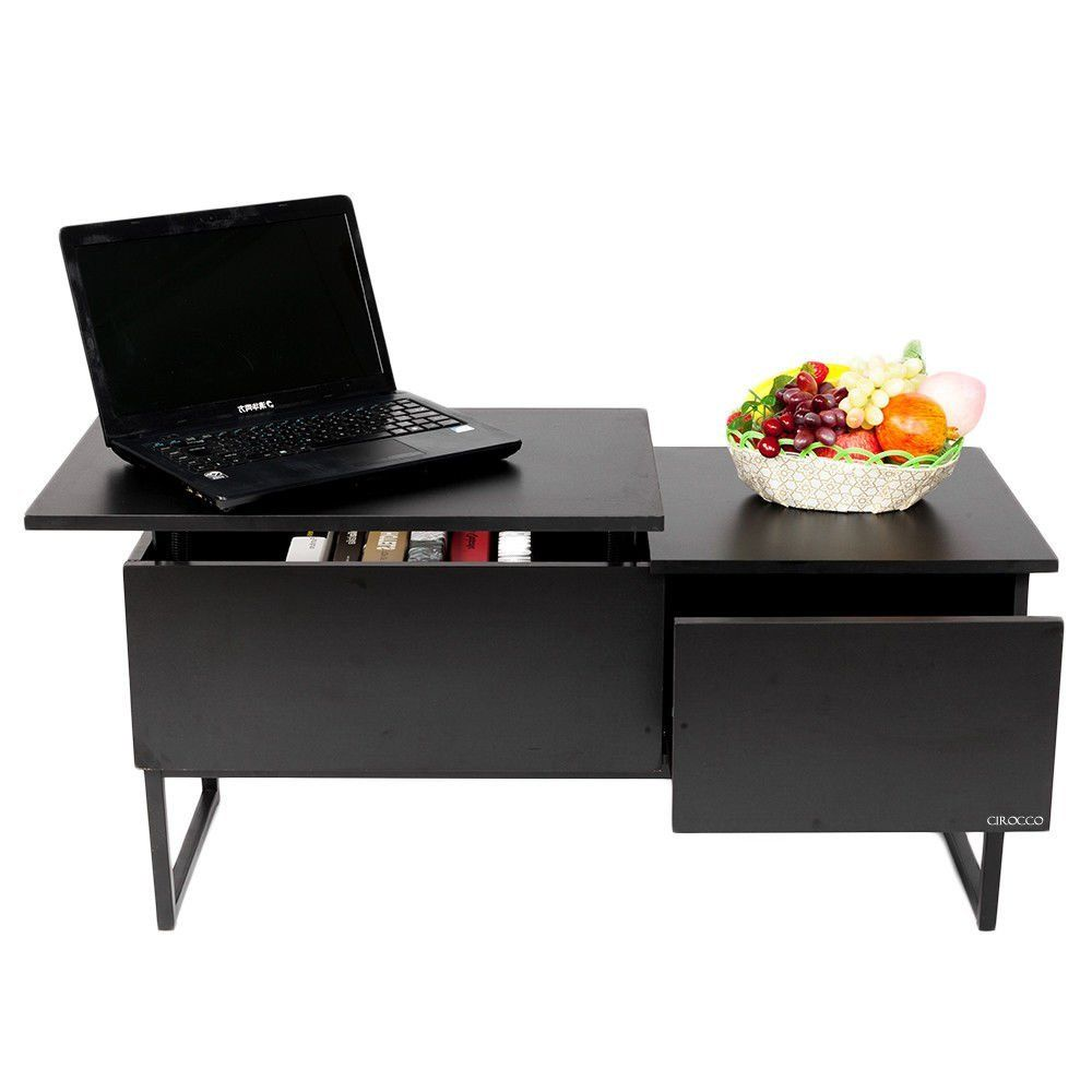 Cirocco Lift Top Coffee Table Black With Storage Drawer And Hidden Compartment Durable Modern Co Living Dining Room Coffee Table Contemporary Modern Furniture [ 1000 x 1000 Pixel ]