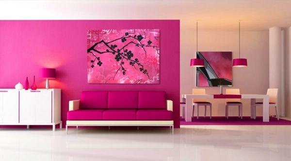 pinke wandfarbe ? wie können sie ihre wände kreativ streichen ... - Wohnzimmer Ideen Pink