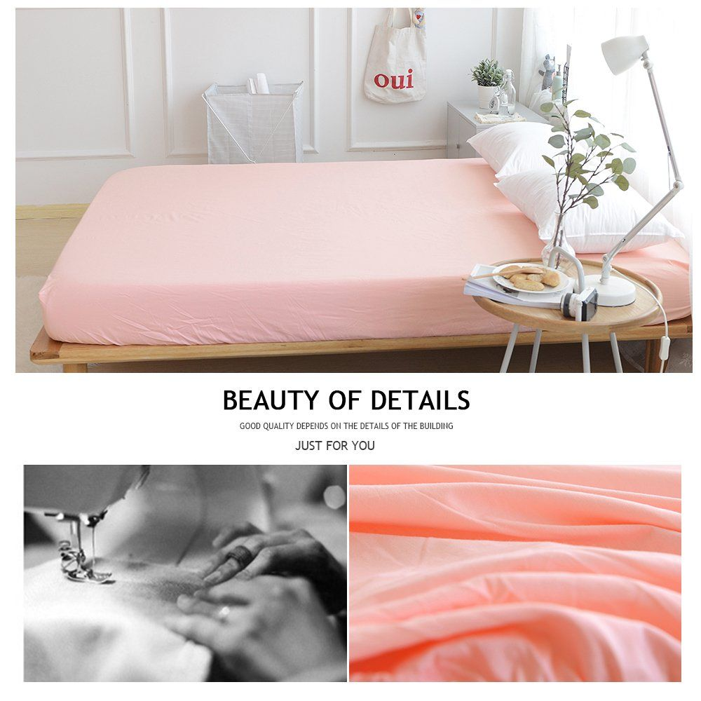 Bulutu Deep Pocket Fitted Sheet Twin Cotton Solid Pinkpremium Softbreathabledurablecomfortablesingle Bed Fitte Fitted Sheet Pillow Cases Sheets And Pillowcases