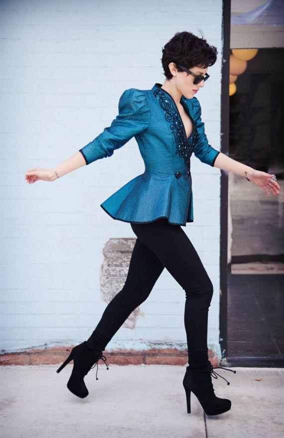 Karla in black jeans in Miu Miu boots