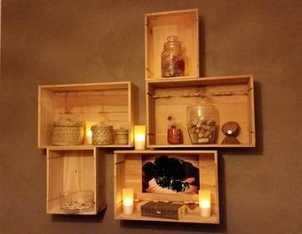 mur b ton cir caisses bois vin bois d coration mur. Black Bedroom Furniture Sets. Home Design Ideas
