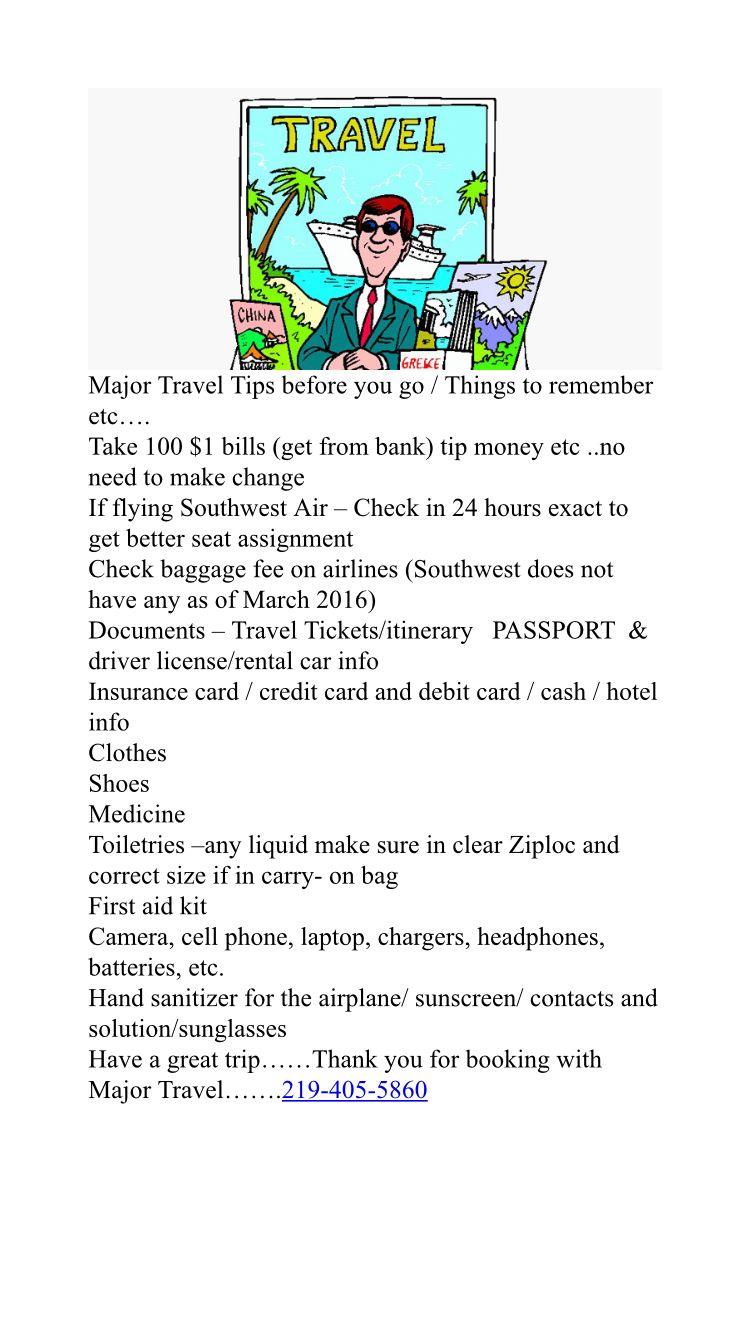 Major Travel Tips
