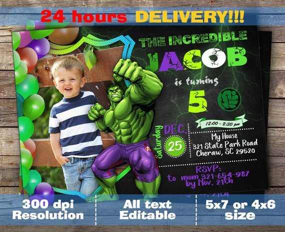 Hulk Invitation Printable Party Birthday Invitations Invite Decoration