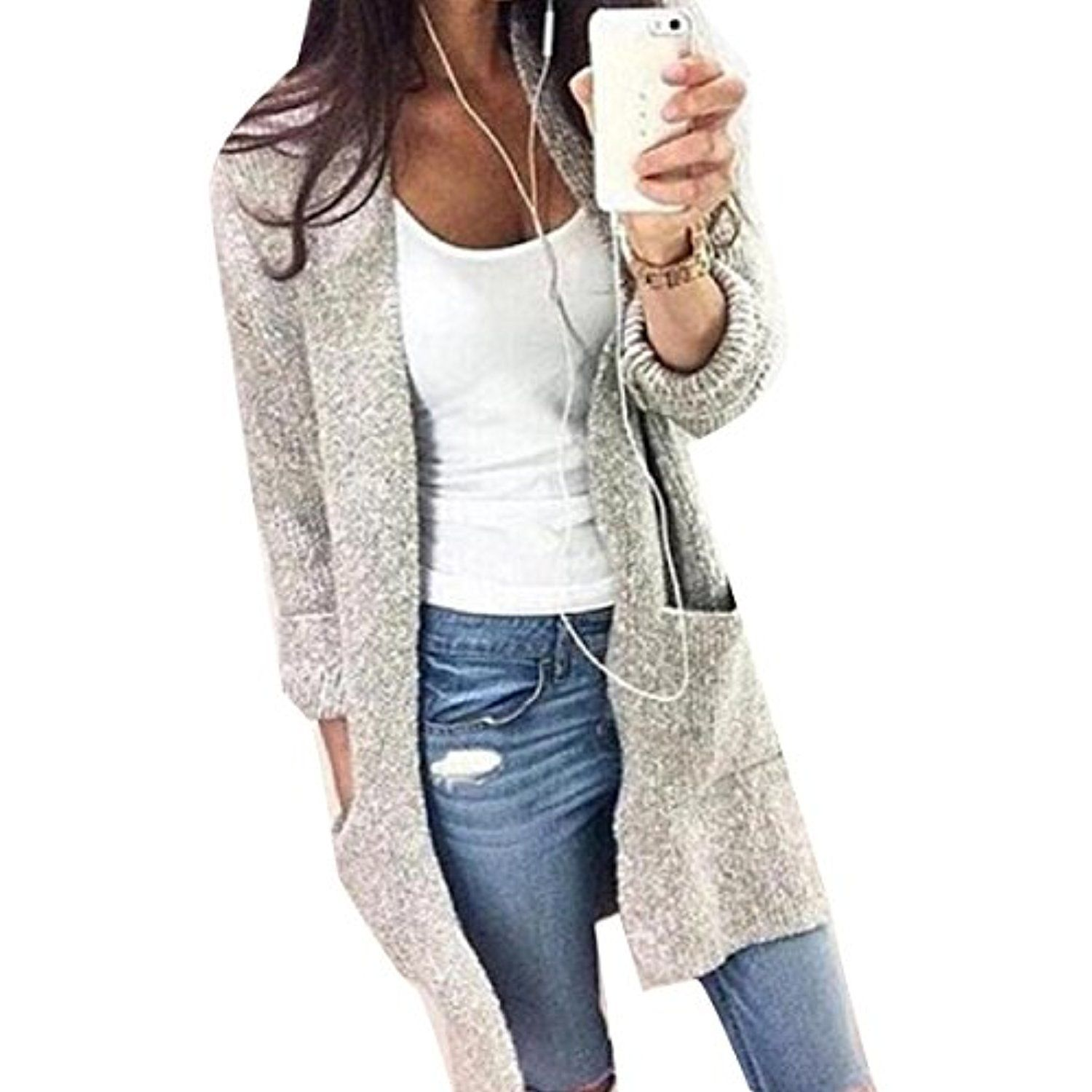 Coolred Women Knit Pure Color With Pockets Casual Sweaters ...