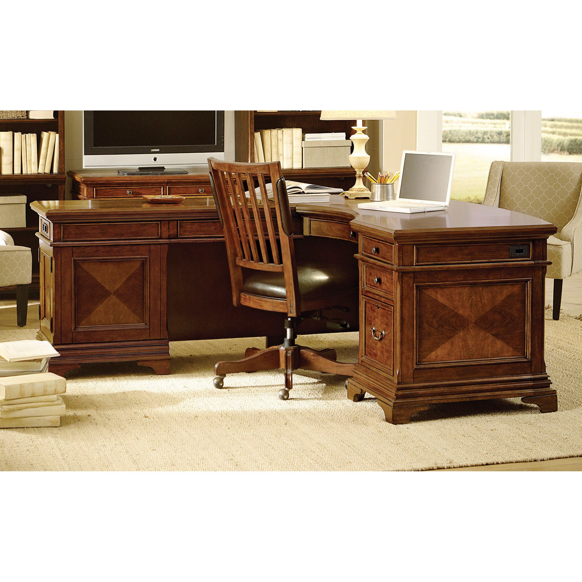 The Traditionally Styled Ethan Desk With Return Is An Ergonomic Office Solution That Makes It Easy