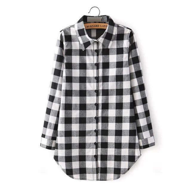 Women Spring Plaid Printed Check Shirt | Plaid, Gender and Products