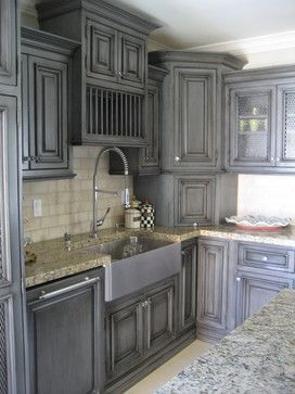 Grey And Cream Distressed Kitchen Cabinets Glazed