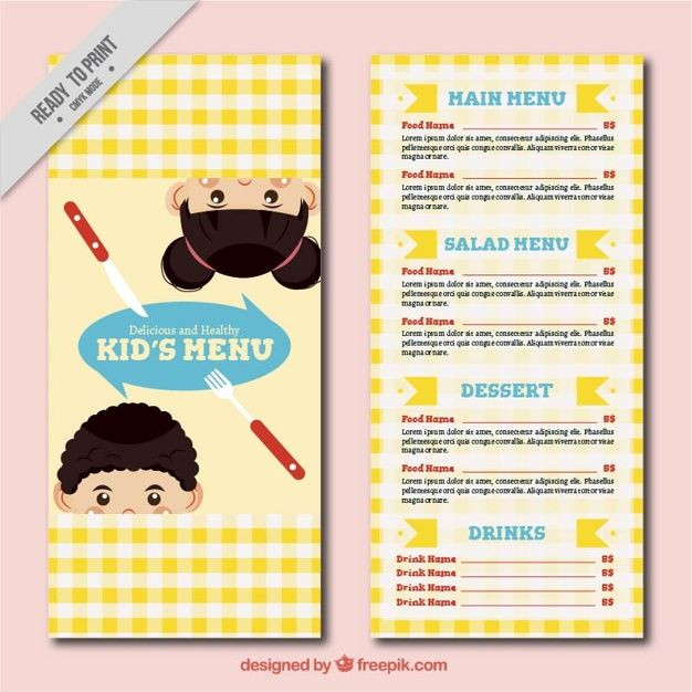Children menu template with tablecloth design #Free #Vector #Food - food menu template