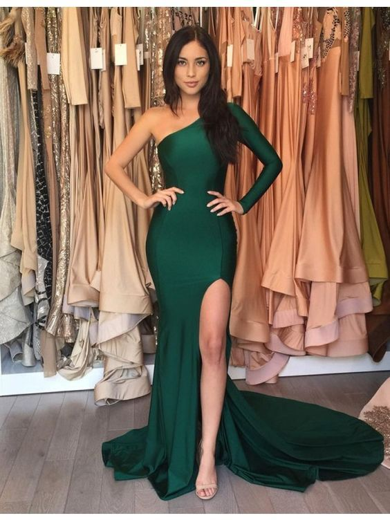 Emerald Green Long Mermaid Prom Dresses,Sexy Evening Dress,Mermaid Prom Dresses,One Shoulder Evening Gowns,Long Sleeve Prom Dresses