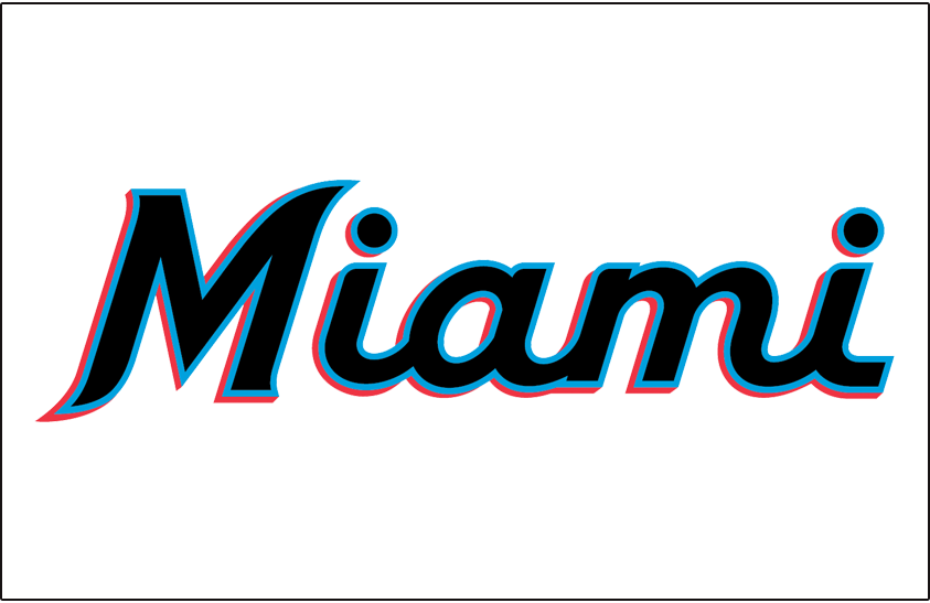 Miami Marlins Jersey Logo 2019 Pres Miami In Black Blue And Real Script Worn On Front Of Miami Marlins Home Jersey Beginning Miami Marlins Miami Marlins