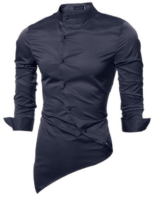 2dbb5c3b676bd New Men s Stylish Asymmetrical Single Breasted Dress Shirt   Cool ...