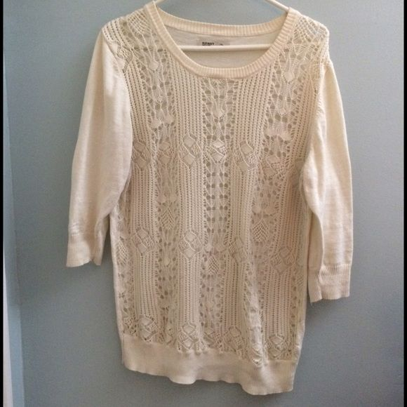 Lace-Front Sweater Gorgeous lace-front sweater. Solid, cream-colored arms & back. Worn only a handful of time, but there's some inexplicable loss of shape/elasticity in hem, as seen in photos. Bundles get 10% off. Old Navy Sweaters