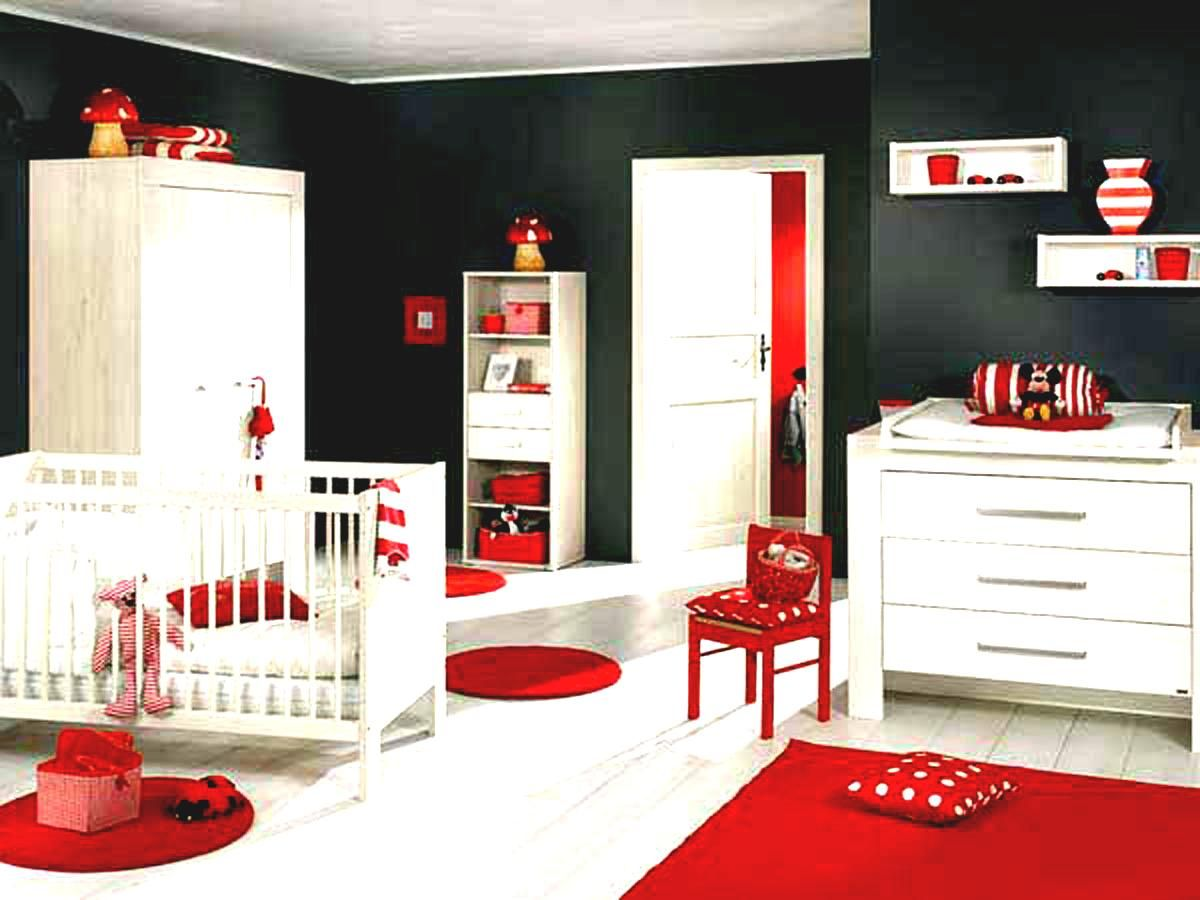 A Cool Baby Room Ideas For Girls With Red Carpet Also White Wooden Drawers And Crib