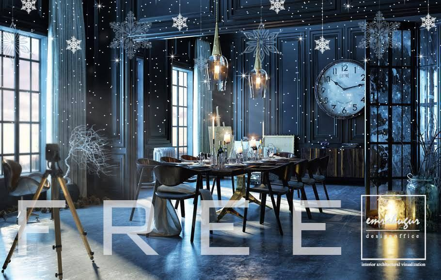 Free Max Model Christmas Living Room, Modeled And Rendered By Emrah Uğur  The File Is Complete With All Textures, Vray Interior Scene