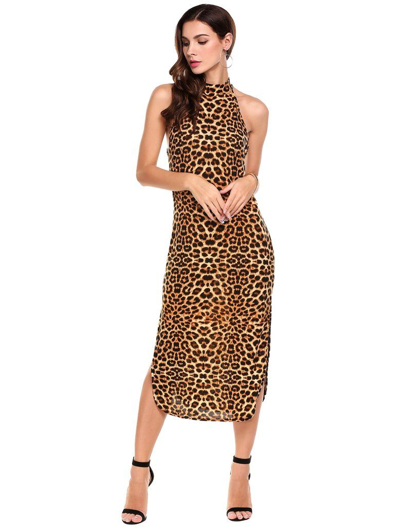 Dark brown halter sleeveless side slit leopard print going out dress