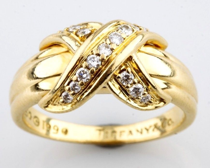 4e9d6a907 Tiffany & Co 18K Yellow Gold X Crossover 0.25ct Diamond Ring 1990  Collection #TiffanyCo