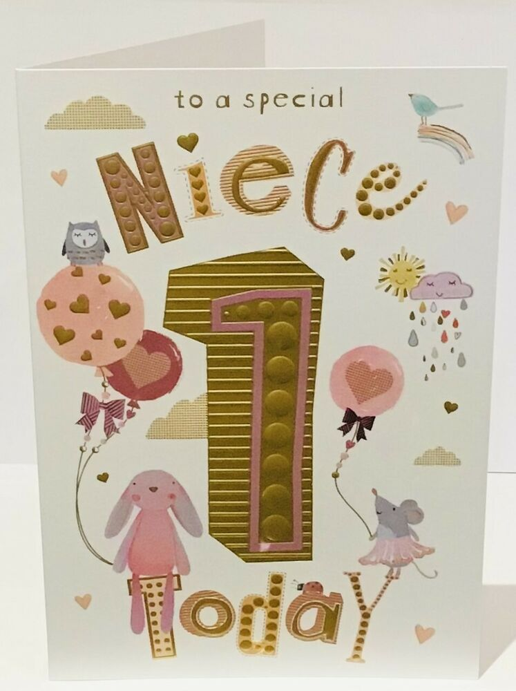 Details about 1st Birthday Card For A Special NIECE 8.5