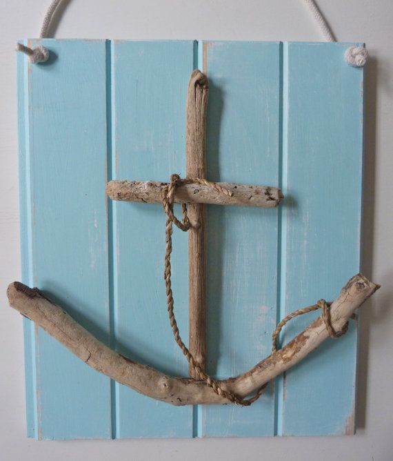 Rustic nautical driftwood anchor wall art shabby chic for Driftwood wall decor