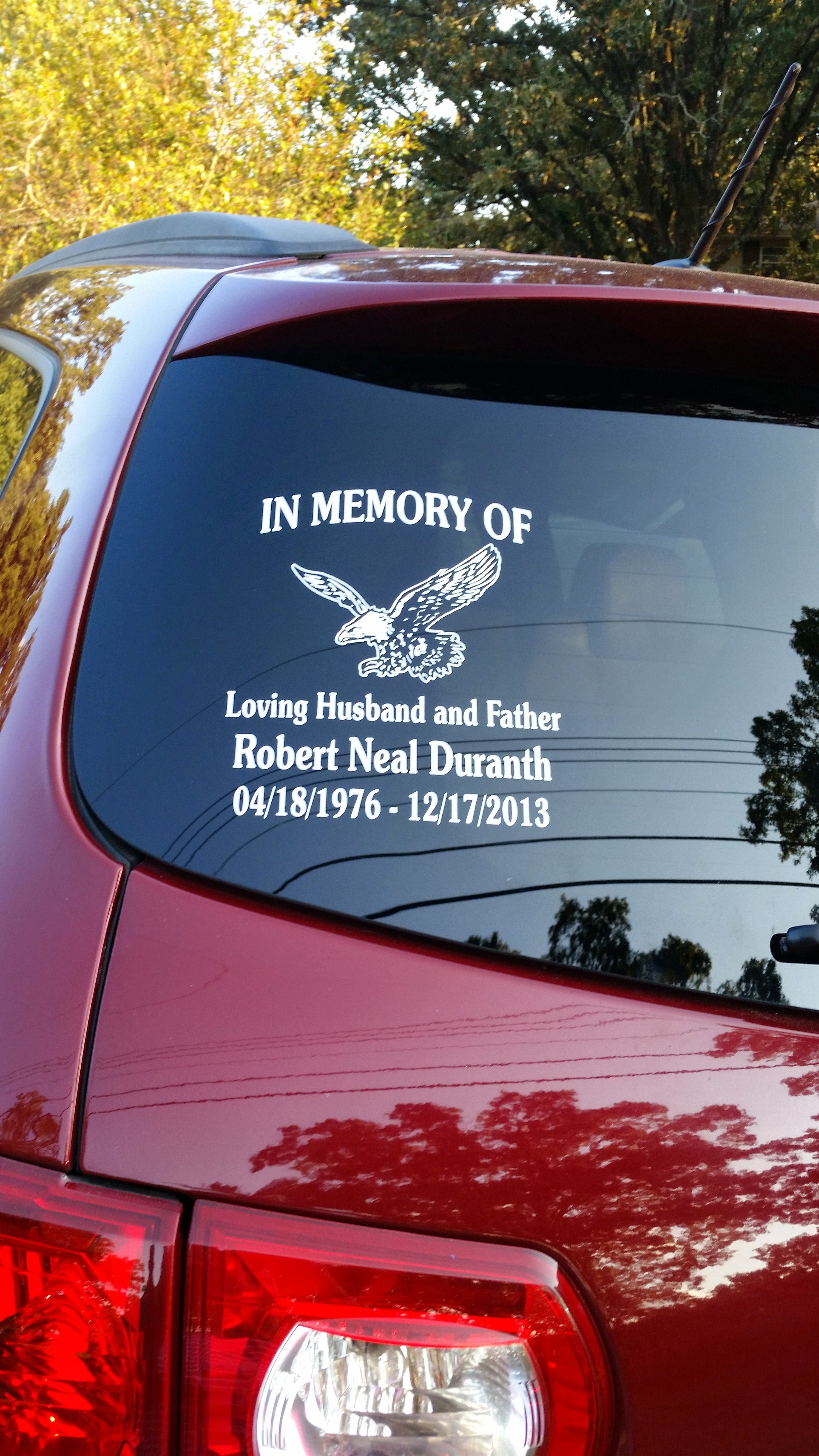 This soaring eagle design makes a lovely memorial decal this custom said i was very pleased with the order process and quick delivery
