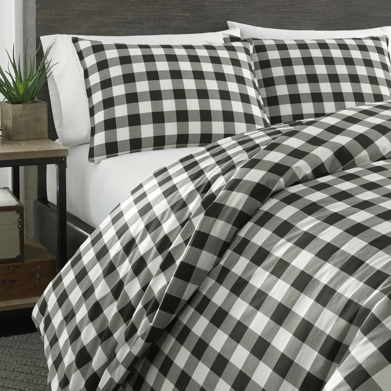 Mountain Reversible Duvet Cover Set In 2020 Plaid Comforter Duvet Sets Black Duvet Cover