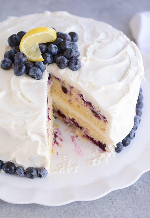 Lemon Blueberry Cake with Whipped Lemon Frosting