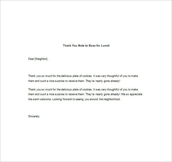 Thank You Notes Boss Free Sample Example Format Download Letter