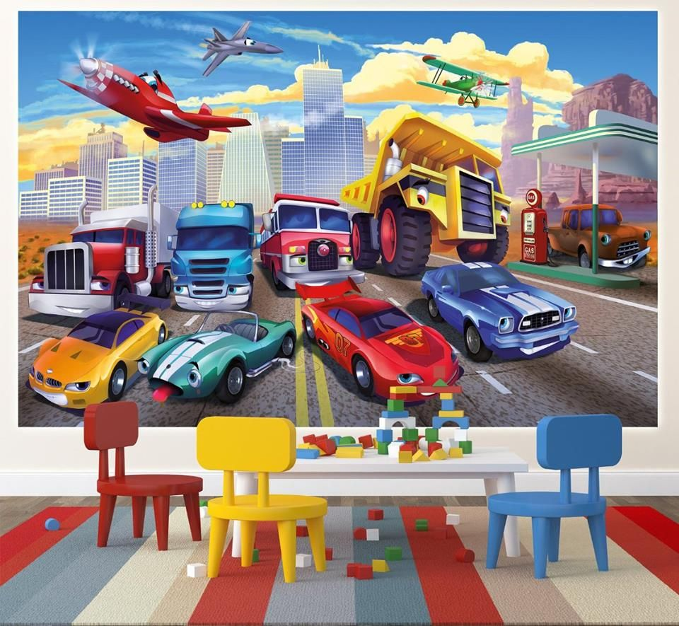 🚔 Autozimmer: Riesige Disney Cars Fototapete für das Kinderzimmer ...