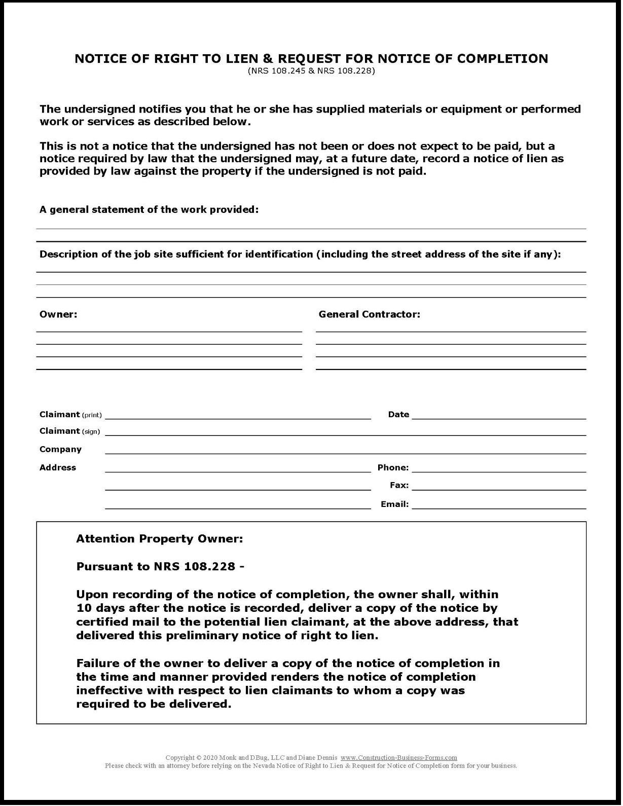 Nevada Notice Of Right To Lien Request For Notice Of Completion
