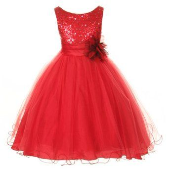 1f5db1e2b47 Amazon.com  Kids Dream Red Sequin Double Mesh Flower Girl Dress Little  Girls 2T-14  Kids Dream  Clothing