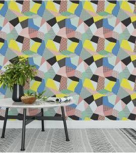 Papel de parede geométrico memphis abstrato