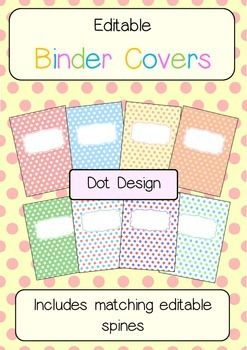 Binder Covers And Spines Dot Themed Editable Editable Binder