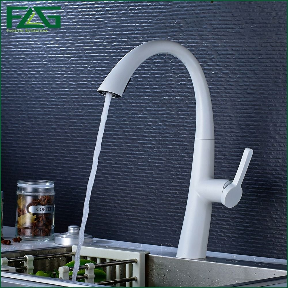 FLG Multiple Choices White Painting Kitchen Faucet Pull Out Torneira ...