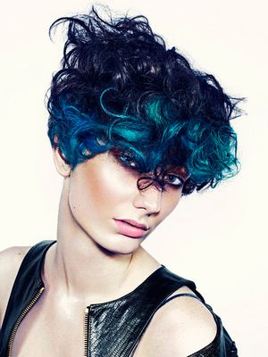 Short Curly Punk Haircut With Blue Hair Color New Short