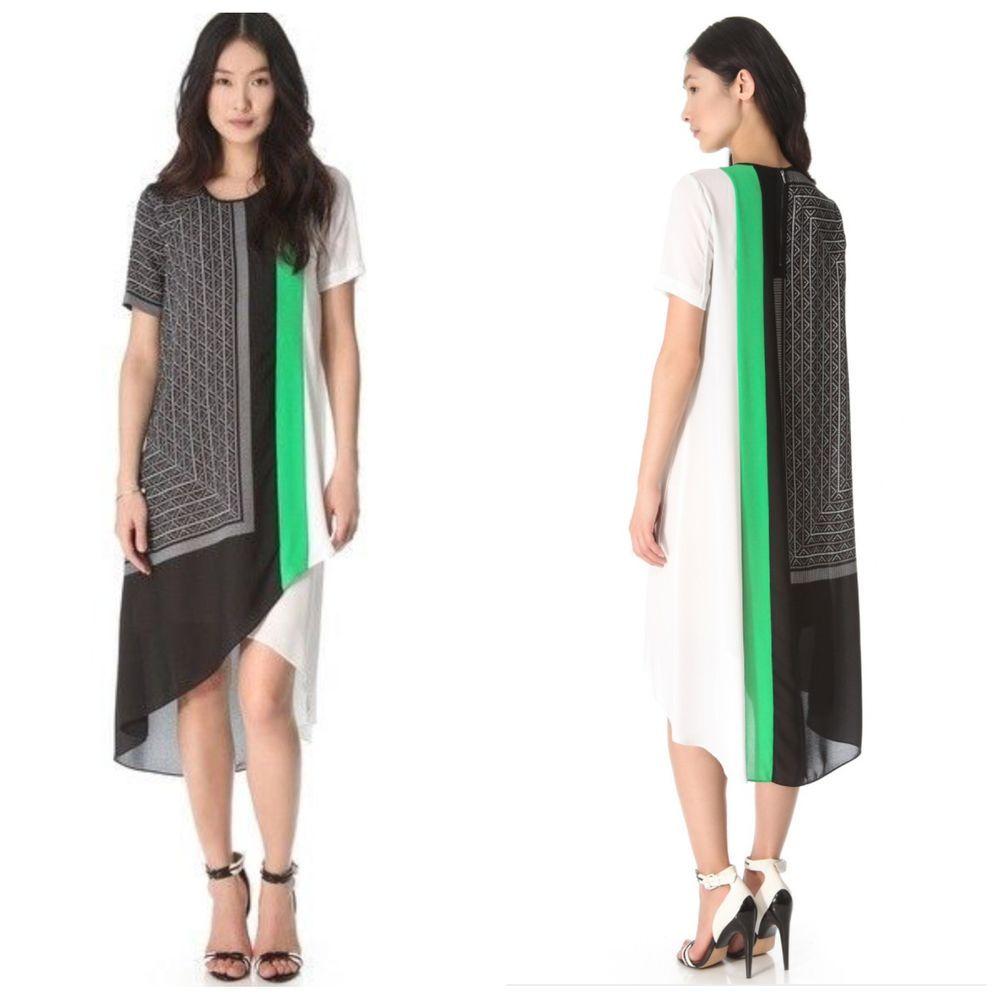 $268 NWT BCBG MAXAZRIA ADELEINE DRESS M CRA6W127 BLACK COMBO  #BCBGMAXAZRIA #AsymmetricalHem