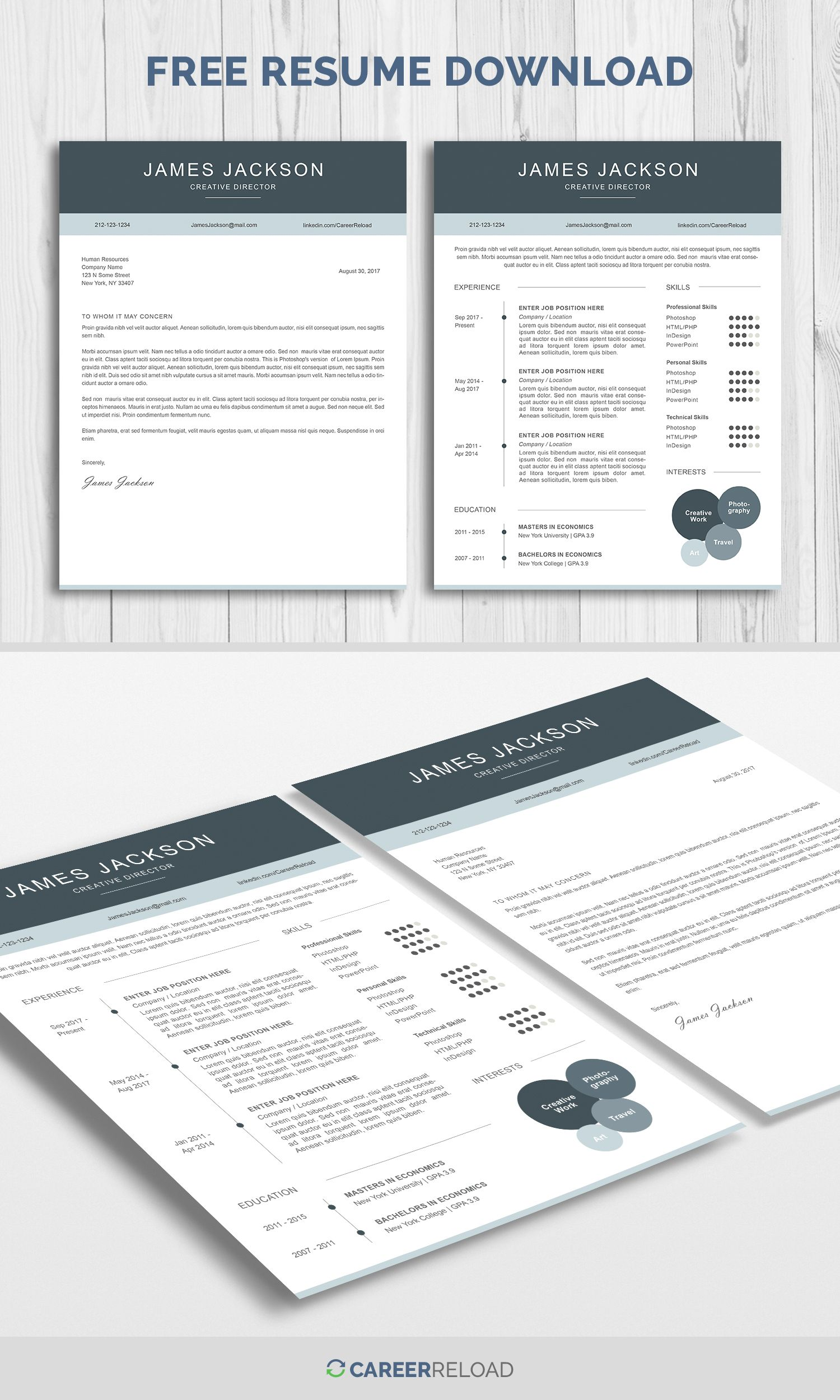 Free Resume Template And Cover Letter Download  Working Smarter