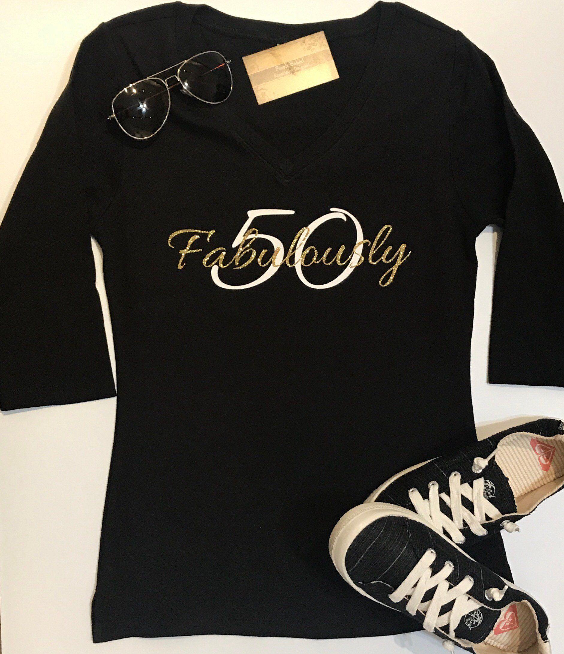 Custom Glitter Womens Fabulously Glam 50th Birthday 50 Shirt