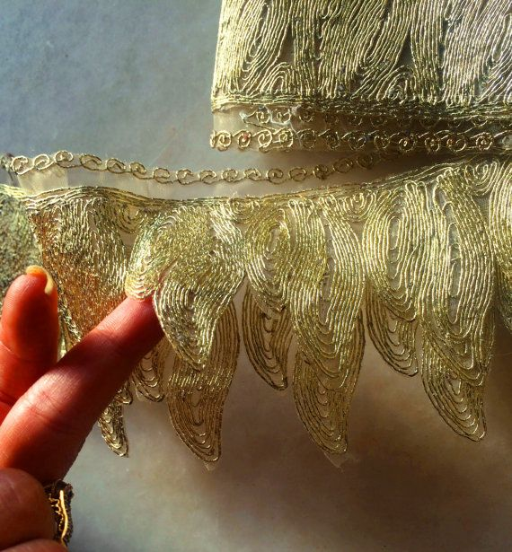 Light Green and Gold Embroidered fabric Trim-sari border-trim by  yard-yardage