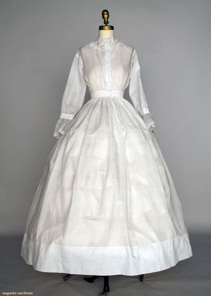 Day Dress: ca. 1850-1860, cotton, whitework embroidered collar ...