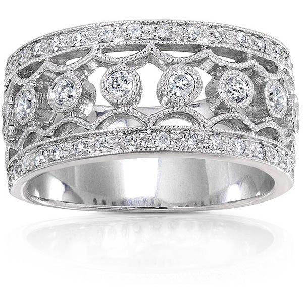 Wide Band Diamond Wedding Rings For Women Womens