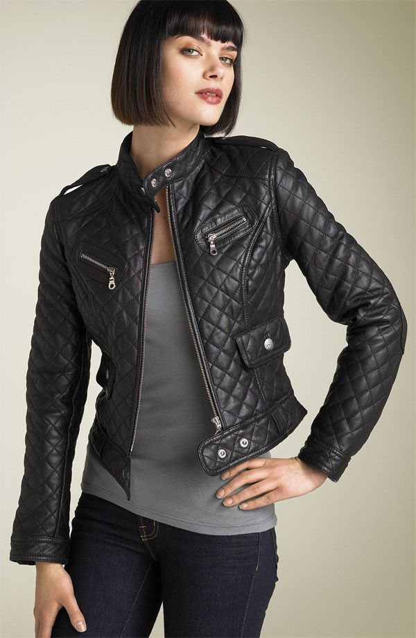 Cropped Diamond Quilted Leather Moto Jacket Google Search Wish