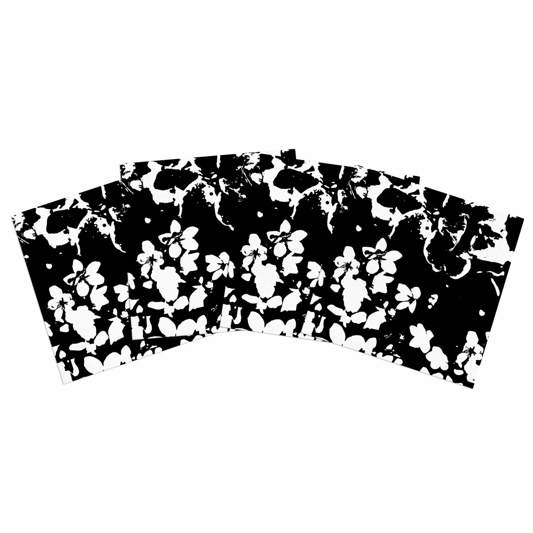 "Love Midge ""Helena Floral Black"" Floral Modern Indoor/Outdoor Place Mat (Set of 4)"